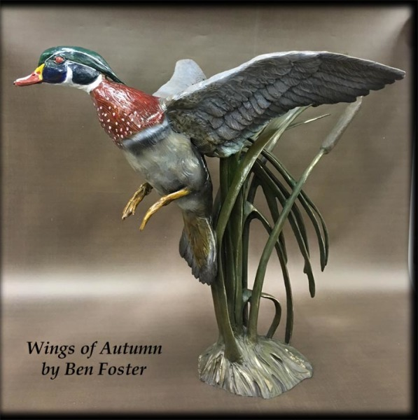 Wings of Autumn - Single Life-Size Wood Duck - Bronze