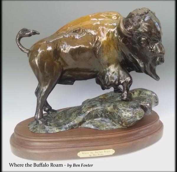 Where the Buffalo Roam - Bison - Bronze on Black Walnut Base