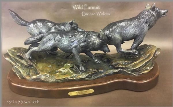 Wild Pursuit ~ Bronze Running Wolves
