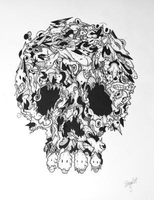 zunzima skull art drawing