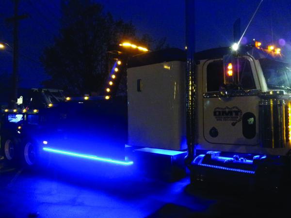 Western Star with Hamsar Blue LED Strip Light along outside perimeter of truck