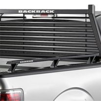 close up image of Backrack Louvered Rack on pick up truck
