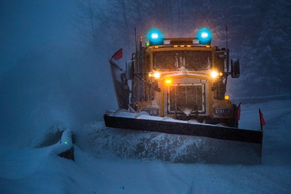 Snow Plow with Blue LED Warning Light