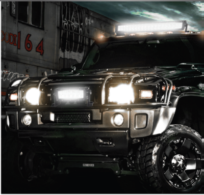 Truck with LED off-road performance lights on front bumper