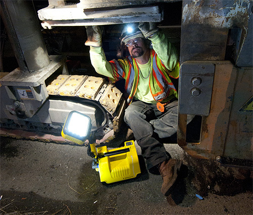 Heavy Equipment Mechanic with Pelican Remote Area Light