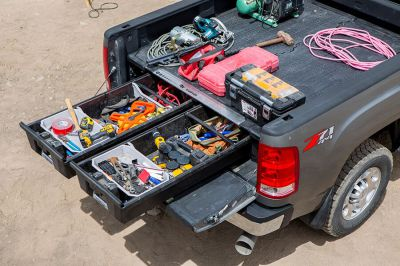 Decked storage system in pick up truck