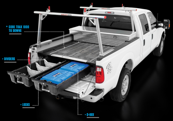 White Pick up with DECKED In-Bed Storage System and Accessories