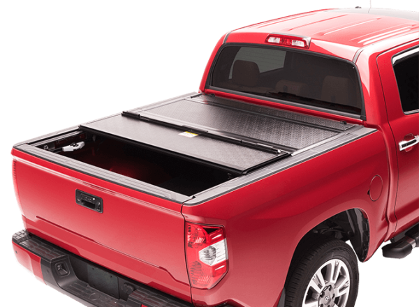Red Pick up truck with BAK Bakflip G2 All Aluminum Series Truck Bed Cover
