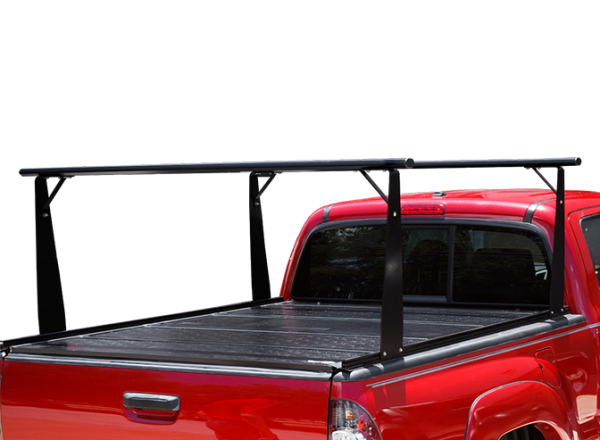 Red pick-up truck with BAK BAKFlip CS Rack Integrated Truck Bed Cover