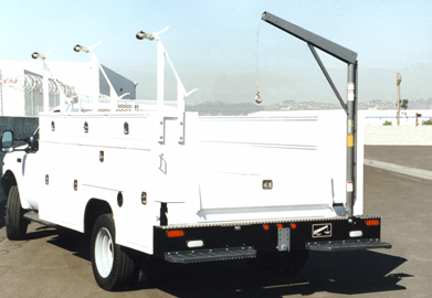 Service Truck with Western Mule Fold-A-Way Bumper Crane