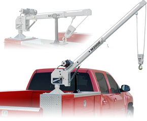 Red Pick-up Truck with Western Mule Telescoping Boom Crane