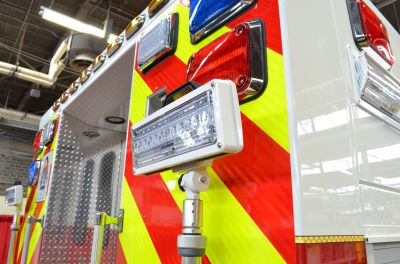 Whelen Pioneer  floodlight mounted to fire truck