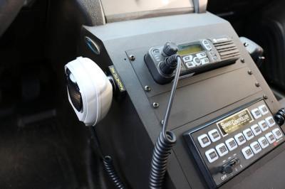 Law enforcement vehicle with laptop mount