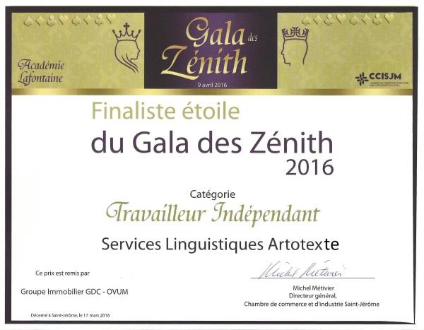 Finaliste au Gala des Zénith