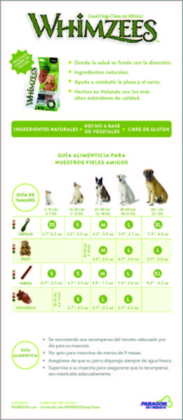 WHIMZEES Feeding Guide Spanish Version