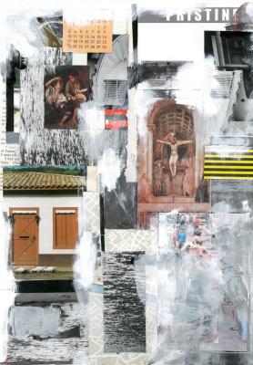 Feirantes, 2017.  30 x 40 cm. Mixed Media / colagem e tinta acrílica