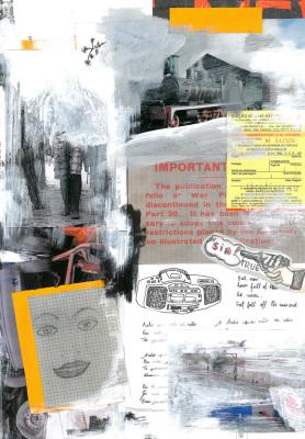 Pés Descalços, 2017.  30 x 40 cm. Mixed Media / colagem e tinta acrílica