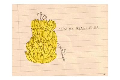 Comida Brasileira, 2011.  10 x 10 cm. Rascunho / Sketch
