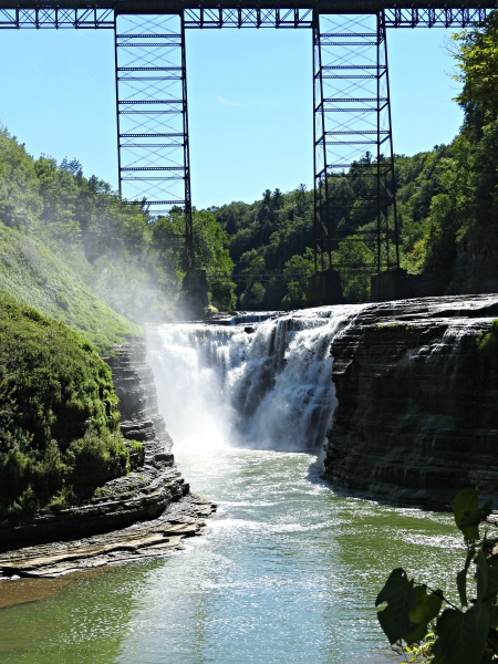 Upper Falls With Portage Railroad Trestle In Foreground
