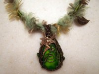 wire wrapping, wire wrapped pendant, faerie, green necklace,