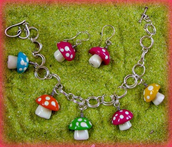 Mushroom Polymer Charms - Silver Bracelet