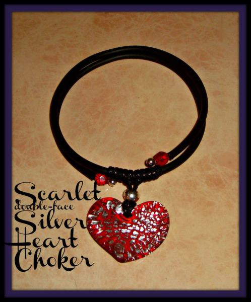 Red Heart Pendant - Gummy Rubber Choker