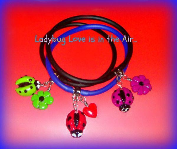 Ladybug Polymer Clay - Gummy Rubber Bracelets