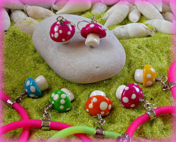 Mushroom Polymers - Earrings and Gummy Rubber Bracelets