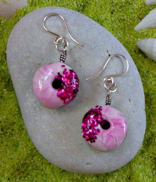 Donut Polymer Silver Earrings