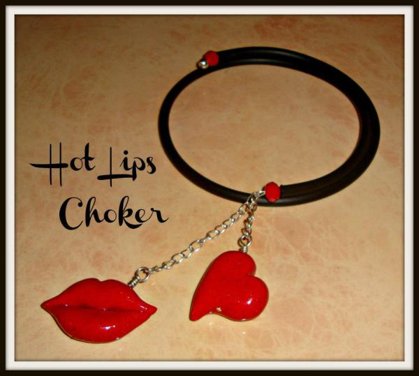Kiss and Heart Polymer Pendant - Gummy Rubber Necklace
