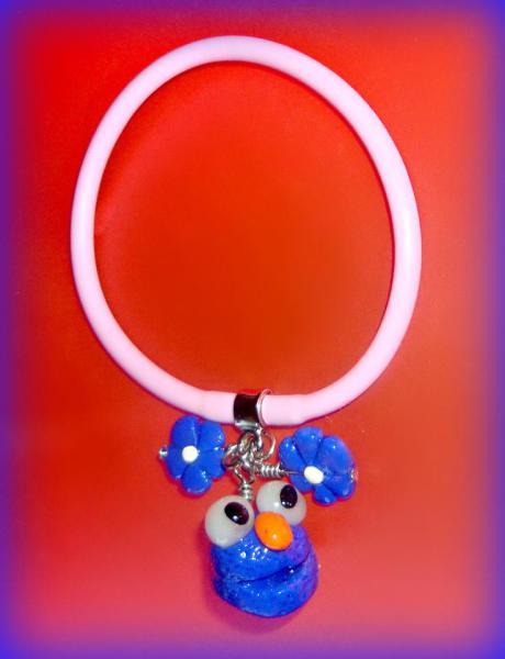 Blue Elmo Polymer Clay - Gummy Rubber Bracelets