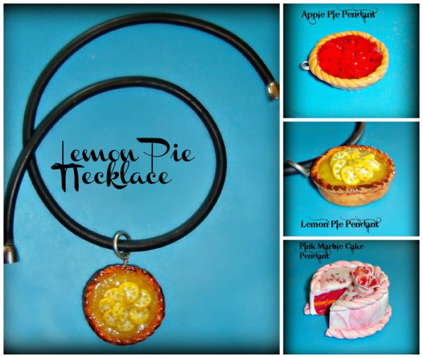 Lemon Cake - Strawberry Layered Cake - Cheery Pie Polymers - Gummy Rubber Necklace