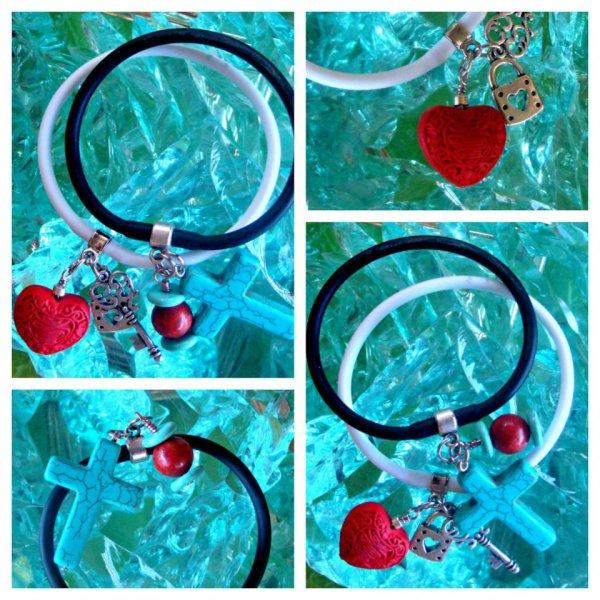 Lava Hearts Gummy Rubber Bracelets