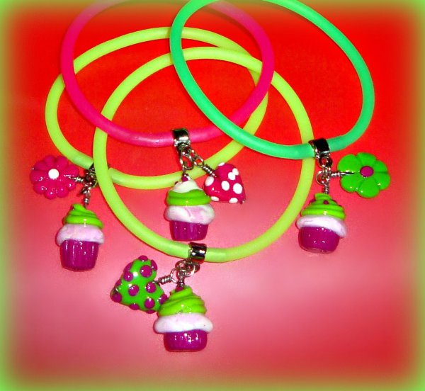 Cupcake Polymer Clay - Gummy Rubber Bracelets