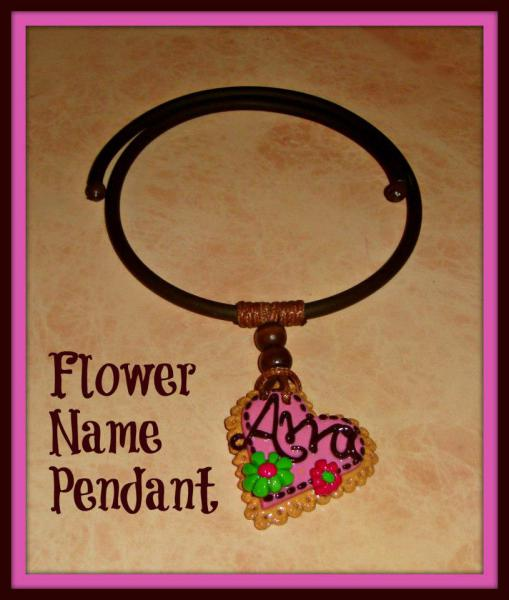 Flower and Name Heart Polymer Pendant - Gummy Rubber Necklace