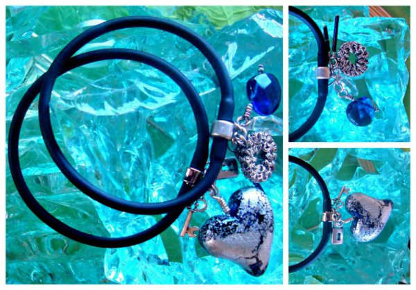 Silver Hearts Gummy Rubber Bracelets