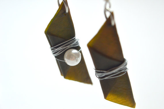 Green Leather Pearled Earrings