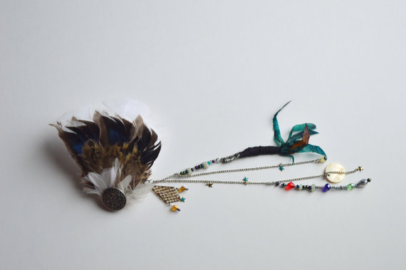 Beaded Feathers Hair Piece