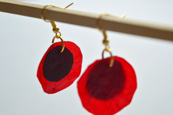 Circles of Red Earrings
