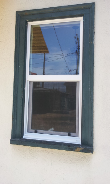 Window with wood frame after