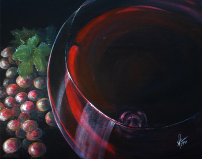 wine, grapes, wineglass, wine country art