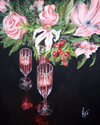 wine, flowers, rose