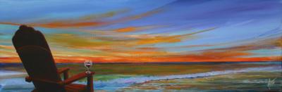 wine, beach, chair, sunset