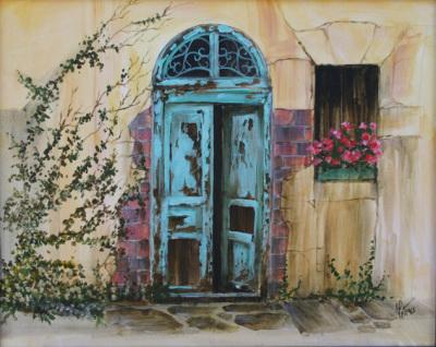door, garden, art, blue