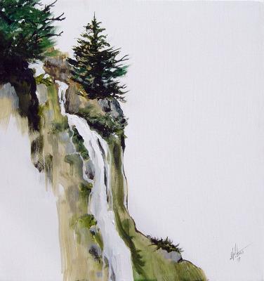 nature, landscape, waterfall, art