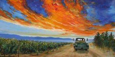 wine country, art, sunset, western