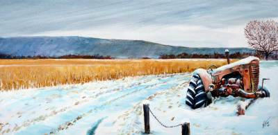 farm, tractor, country, art