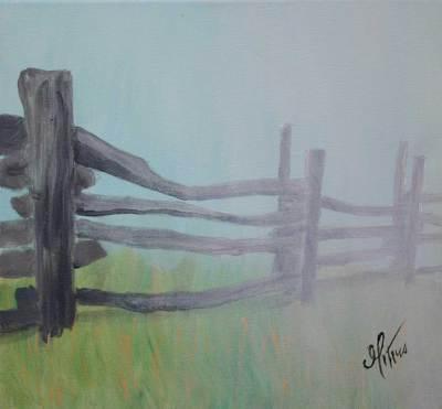 rustic, coast, fence, art