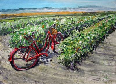 wine country, bicycle, west, art