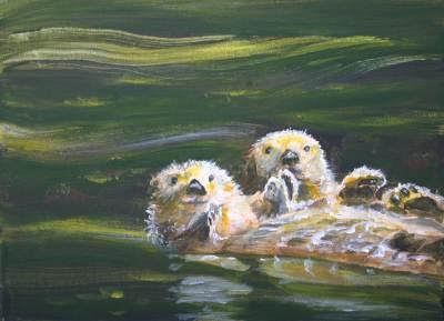 sea otters, monterey, ocean, pacific, west, art